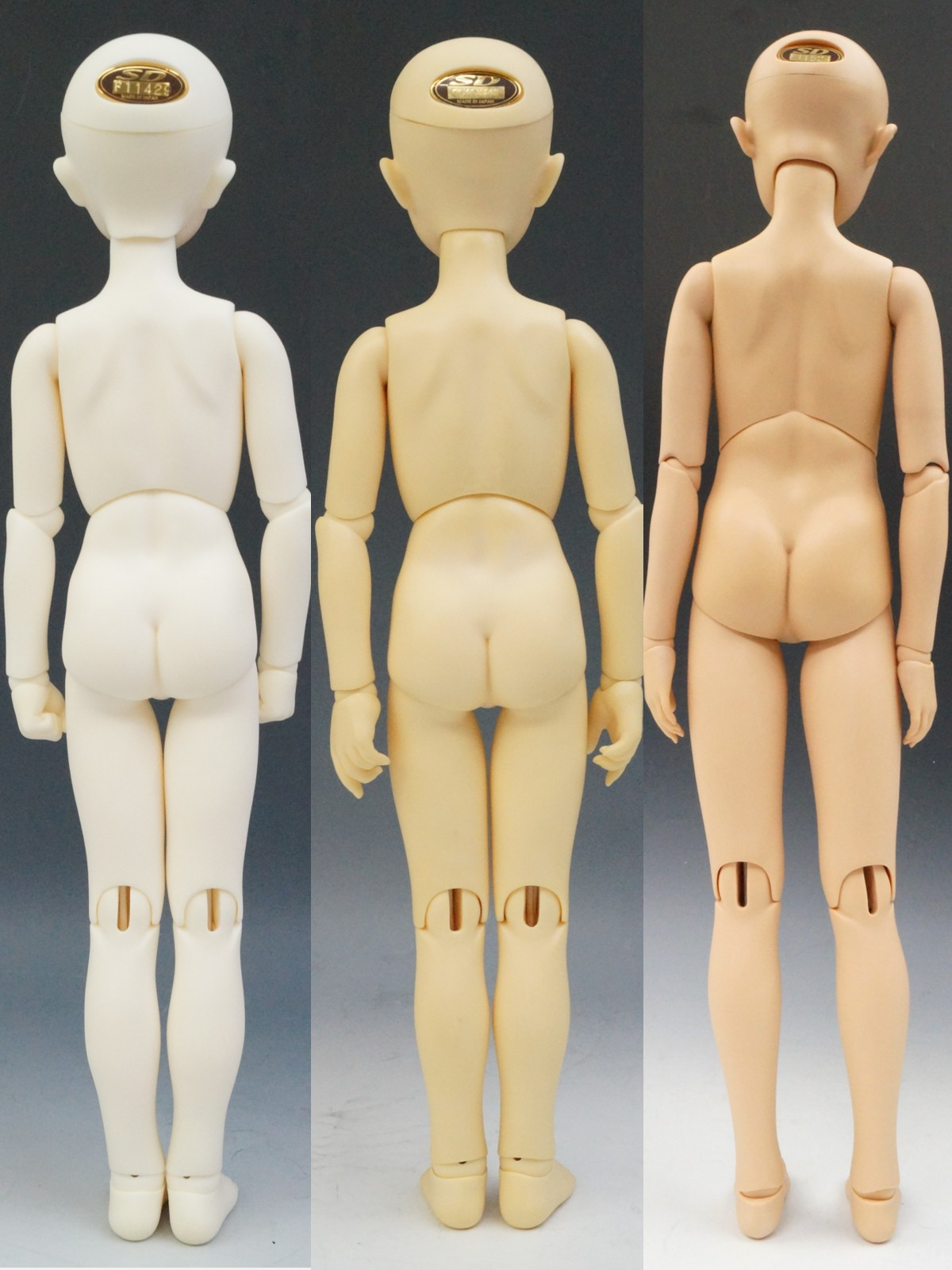 左からホワイト肌、ノーマル肌、サンライト肌